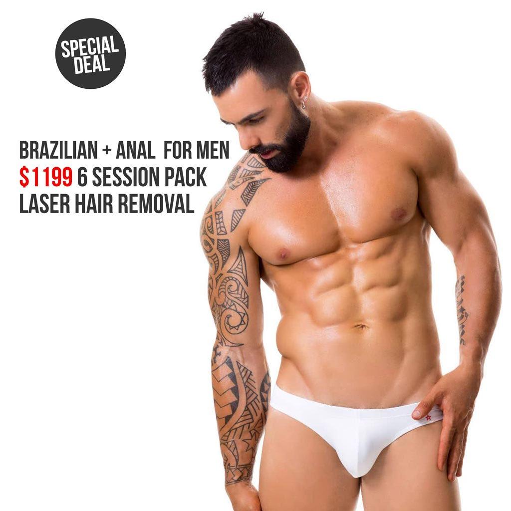 Brazilian and Anal Laser Hair Removal Package for Men