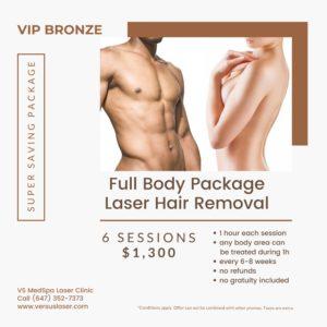 Full body laser hair removal VIP-Bronze pack