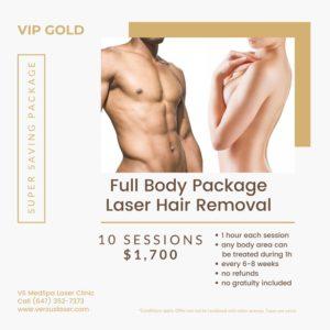 Full body laser hair removal VIP-GOLD pack