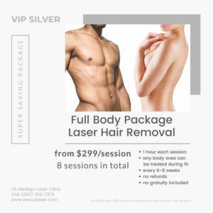 Full body laser per session VIP-SILVER pack