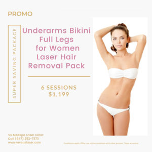 underarms bikini full legs for women laser hair removal package
